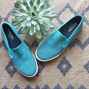 Sperry Teal Seaside Perforated Suede Sneakers